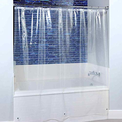 Blu-Pier Tech 8 Guage Heavy Duty Clear Shower Curtain Liner 72 by 72 Inches - Odor Less and Non-Toxic - Rust Proof Grommets (No Hooks)…