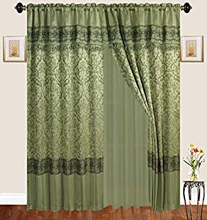 Fancy Linen 2 Panel Rod Pocket Sage Green Embroidery Curtains with Attached Valance and Sheer Backing for Living Room, Dining Room or Bedroom New #Emma 122L