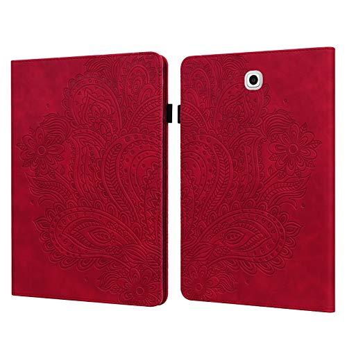 ShinyCase PU Piel Tablet Case Paisley en Relieve Tapa Funda para Samsung Galaxy Tab S2 9.7/SM-T810 SM-T815 SM-T813, Tablet Protectora Carcasa con Soporte Ranura para Tarjeta Magnética Cubierta Rojo