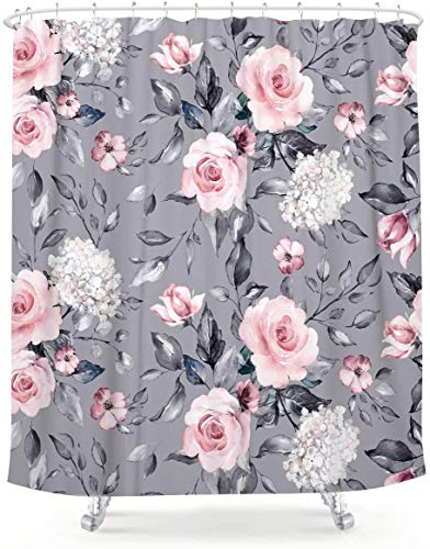 LIGHTINHOME Extra Long Floral Shower Curtain 72Wx84L Inch Vintage Blossom Flower Pink White Blooming Roses Grey Background Spring Leaves Garden Plants Home Bathtub Decor 12 Pack Plastic Hook
