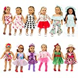 Fairy Wings 27 Pcs Girl Doll Clothes Dress for American 18 Inch Doll Clothes and Accessories - Including 12 Complete Set of Clothing Outfits with Hair Bands, Hair Clips, Crown and Cap