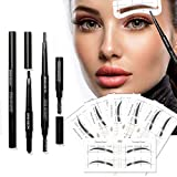 Eyebrow Stencil, 36 Pairs Reusable Eyebrow Shaper Kit, 3-in-1 Black Eyebrow Pencil Set with 6 Fashionable Styles Eyebrow Stencils Kit for Women, Eyebrow Template Makeup Tools for Eyebrows