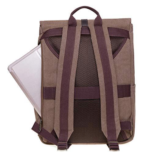 KAUKKO Roll Top Rucksack Canvas Lässiger Tagesrucksack Laptop Schulrucksack fit 14