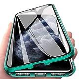 Wishcover para Samsung Galaxy M30s Funda,360 Grados Frente y Parte Posterior Cuerpo Completo Protección Transparente Vidrio Templado + Metal Bumper con Adsorción Magnética Carcasa para Samsung M30s