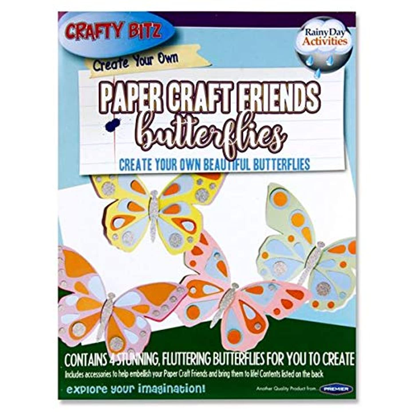 Premier Stationery Paper Craft, Create Your Own-Butterflies. Pack of 4