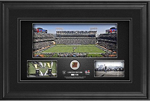 "Las Vegas Raiders Framed 10"" x 18"" Stadium Panoramic Collage with Game-Used Football - Limited Edition of 500 - NFL Game Used Football Collages"