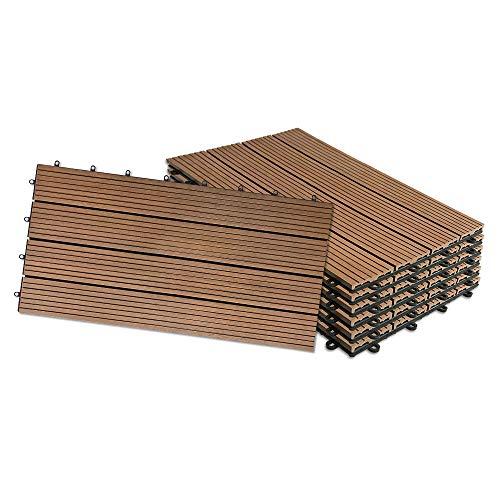 UISEBRT 6x Baldosas Madera Exterior WPC Compuesto 30 x 60cm - Baldosas de Terraza Jardin (6 piezas 30x60cm - 1m², Marrón)