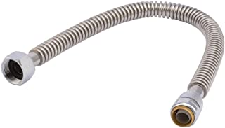 Sharkbite SS3086FLEX24LF SS3086FLEX24LFA Corrugated Flexible Connector, 3/4 inch x 1 inch FIP x 24 inch, Push-to-Connect Braided Stainless Steel Water Heater Hose, 3/4
