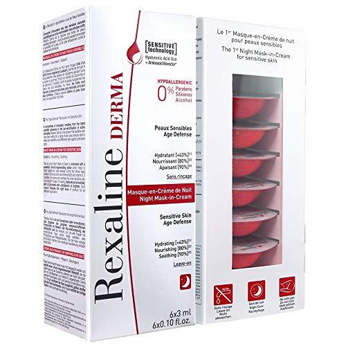 Rexaline - Mascarilla en crema nocturna - Purificante y nutritiva - Mascarilla hidratante nocturna con ácido hialurónico - Piel sensible - Crema facial reparadora – Cruelty Free - 6 cápsulas x 3 ml