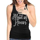Maid of Honor Tanks - Rhinestone Diamond Maid of Honor Tank Top - Bridal Wedding Party Tanks - Medium - Black