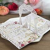 Kuchynee 3D weiße Pop-Up Hochzeitseinladungskarten mit Lasergeschnittene Braut und Bräutigam für Verlobung Brautdusche Jubiläums-Hochzeitseinladungen inkl Antwortkarte, 20 Stück