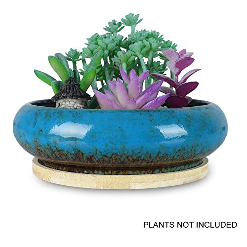 ARTKETTY 7.3 inch Round Succulent Planter Pots with Drainage Hole Bonsai Pots Garden Decorative Cactus Stand Ceramic Glazed Flower Container Blue, with Bamboo Tray