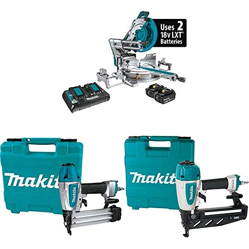 Makita XSL08PT 18V X2 LXT Brushless Cordless 12 Inch Miter Saw Kit, AWS Capable with AF506 Pneumatic 18-Gauge, 2 Inch Brad Nailer and AF601 Pneumatic 16-Gauge, 2-1/2 Inch Straight Finish Nailer
