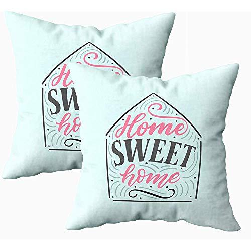 Grijze kussensloop, set van 2 H getekend brievenbus thuis Sweet Home F Poster Card Vierkante Slaapbank, Roze Perzik