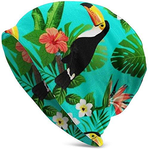 TABUE Unisex Volwassen Teal Tropische vogels Tropische planten Hibiscus Paradijsvogel Casual beanie muts Warme gebreide muts Skull Cap