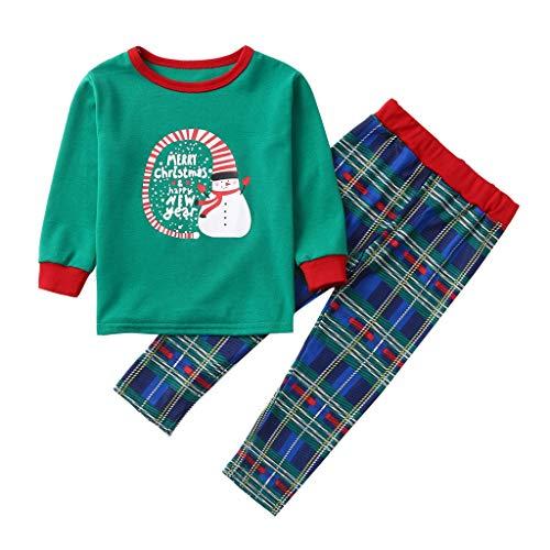 Janly Clearance Sale Conjunto de pantalones para bebé de 0 a 15 años de edad, con letras impresas y pantalones a cuadros, conjunto de pijama a juego para 2 a 3 años (verde)