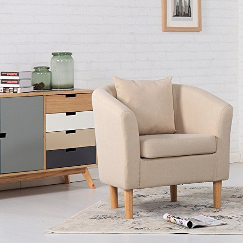 York Fabric Tub Chair Armchair Dining Living Room Office Reception Cream