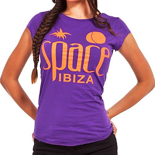 Space Ibiza: Camiseta Mujer Logo Nativo - Morado, L - Large