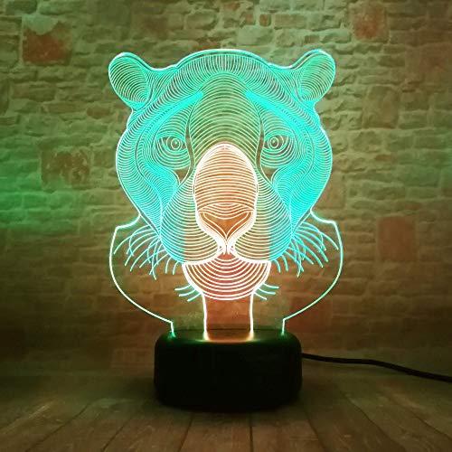 Lámpara 3D Lámpara de noche LED Mesa táctil Lámpara de Tigre león