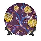 Plato decorativo de cerámica de alcachofa de 25,4 cm, estilo Art Nouveau con colores vibrantes vegetales veganos, plato de pared decorativo de cerámica para eventos de lujo, cenas, fiestas, bodas