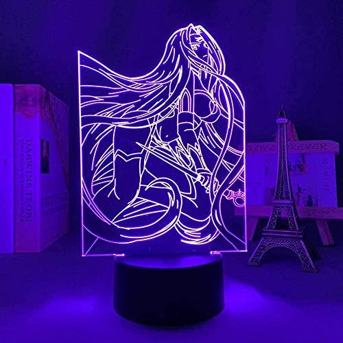 GEZHF 3D lámpara de noche anime ilusión lámpara anime 3D luz destino estancia noche conductor para dormitorio decoración regalo de cumpleaños manga destino estancia noche medusa LED noche lámpara