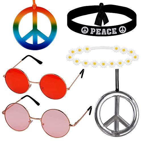 MEJOSER 6pcs Accesorios Disfraz Fiesta Hippie 2pcs Gafas Hippie de Sol 2pcs Colgantes Hippies de la Paz 2pcs Diademas Peace y de Flores Mujer Hombre