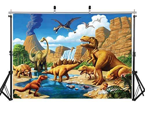 AIIKES 2.1Mx1.5M/7x5FT Dinosaurio Mundo Parque Fondo de Fotografia Niños Selva Tropical Safari Fondo Bebé Cumpleaños Animal Backdrop Party Decoración Foto Estudio Props 11-510