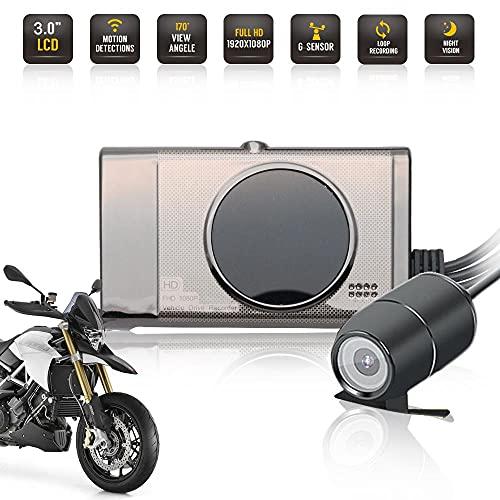 """Motorradkamera, Dash Cam Videorecorder 3\"""" 1080P HD 125 Grad Action Dual Kamera Weitwinkelobjektiv Nachtsicht Kamera Vorne und Hinten Wasserdicht"""