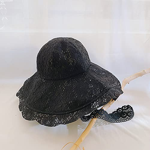 QAZW Sombreros De Playa De Verano para Mujer,Sombrero De ala Ancha para Mujer, Sombreros De Visera para El Sol Plegables y Empacables para Mujer con Cuerda a Prueba De Viento,Black-1
