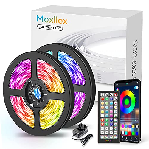 LED Strip Lights 15M Music Sync Color Changing RGB LED Strip 44-Key Remote, Sensitive Built-in Mic, App Controlled LED Lights, 5050 RGB LED Light Strip(APP+Remote+Mic+4 Button Switch)