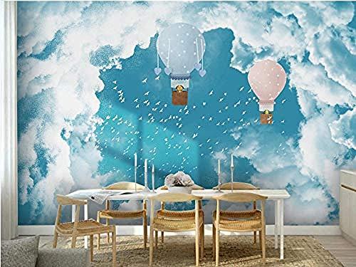 3D Tapete Wandbilder Mediterran Blauer Himmel Weiße Wolken Möwe Ballon Kinder S Zimmer Hintergrund Wand Home Wohnzi Wanddekoration fototapete 3d Tapete effekt Vlies wandbild Schlafzimmer-430cm×300cm