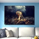 DCLZYF Pinturas Modernas Arte de la Pared Tigre de Fuego Animal Poster HD Impresión de Lienzo Imagen Arte Pintura Sala de Estar decoración del hogar-70x120cm (sin Marco)