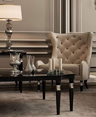 Casa Padrino Sillón Chesterfield Art Deco Gris/Negro/Plata 90 x 75 x A. 105 cm - Sillón de Salón - Calidad