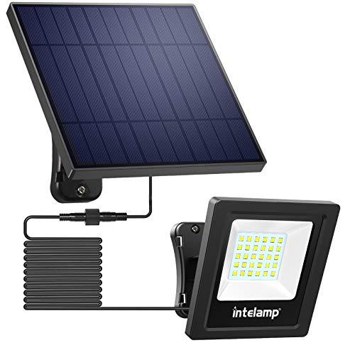 Solar Flood Lights,Intelamp Outdoor Solar Security Light Dusk to Dawn Auto On/Off IP65 Waterproof Solar Powered Lights for Flag Porch Balcony Yard Garage Barn Garden