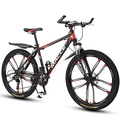 26 Zoll Mountainbike, Scheibenbremsen Hardtail MTB, Trekkingrad Herren Bike Mädchen-Fahrrad, Vollfederung Mountain Bike, 27 Speed,Rot,ten cutter wheel