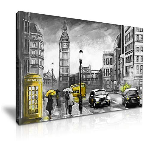 London Big Ben Bus Umbrella Street View Geel Doek Muur Kunst 76cm x 50cm