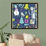paglutaw Pintura De Lona Nórdica Dibujos Animados De Árbol De Navidad Muñeco De Nieve Arte De La Pared Cartel Y Impresión Fotos Navidad Decoración De La Casa Regalo Único 60x90cm NoFramed