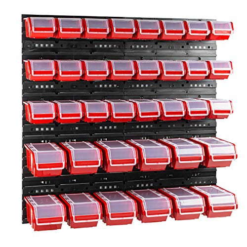 36 stck. Box mit Deckel + Wandregal 80 x 80 cm, Stapelboxen Schüttenregal Sichtlagerkästen Lagersystem