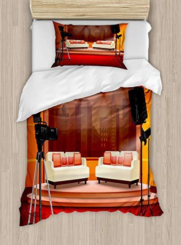 ABAKUHAUS Tv programma Dekbedovertrekset, Talk Show Studio Cartoon, Decoratieve 2-delige Bedset met 1 siersloop, 130 cm x 200 cm, Veelkleurig