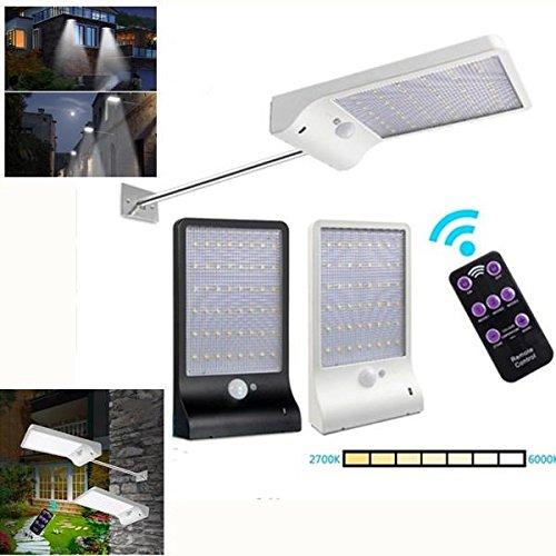 Bazaar Zonne-aangedreven 48 LED PIR bewegingssensor wandlamp 7 kleurtemperatuur straatlantaarn met afstandsbediening