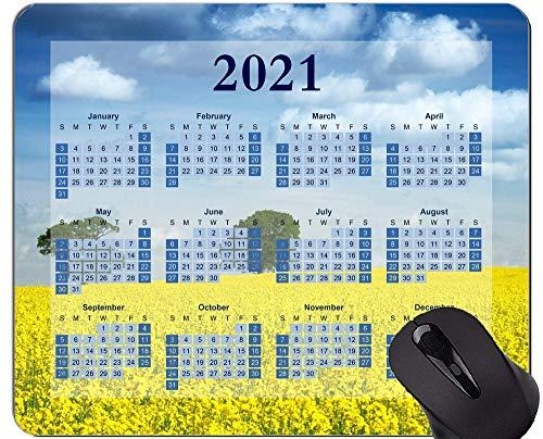 Yanteng Alfombrilla de ratón con Calendario 2021, Alfombrillas de ratón con Fondo Azul