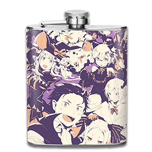 Re Zero Starting Life in Another World - Petaca de licor de 7 onzas (198,4 ml), diseño de vaso en forma de U, color negro
