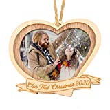 Creawoo Our First Christmas 2020 Wood Picture Frame Ornament, Photo Frame Christmas Tree Decoration, Idea Personalized Keepsake Gift for Husband, Wife, Newlyweds (Heart Shaped)
