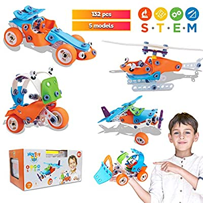 STEM Learning Toys -132 PCS, DIY STEM Toys-Building Set, 7 Year Old Boy Gifts for 6 - 12 Year Old