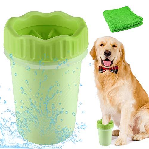 Haustier Pfotenreiniger, 2 in 1 aktualisierte Version Hunde Pfotenreiniger, Tragbare Haustier Reinigungsbürste für Hunde, Haustiere Fuß Reinigungsbürste Haustier, Weiches Silikon Reinigungsbürste