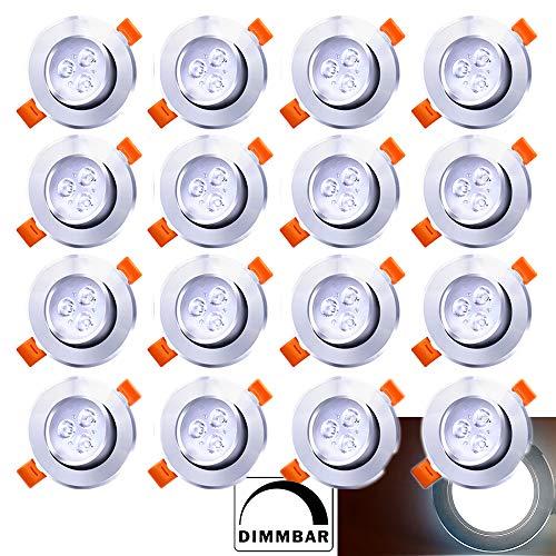 Hengda 20x LED Einbaustrahler Dimmbar Einbau-Spots Schwenkbar 3W Leuchtmittel Decken-Leuchte Einbaulampe Kaltweiß Deckeneinbauleuchte Spots 230V