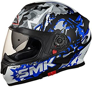 SMK MA256 Twister Attack Graphics Pinlock Fitted Full Face Helmet With Clear Visor (Matt Black, Blue and Grey, L)