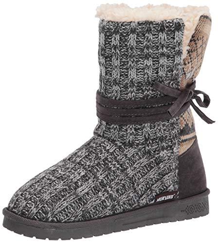 MUK LUKS womens Pull Fashion Boot, Dark Grey, 10 US