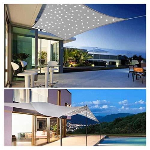 CAISYE Toldo impermeable con luces LED, protección solar rectangular DIY, resistente a la intemperie, 95 % de sombra, protección UV para jardín, terraza, balcón y camping, gris, 2 x 5 m
