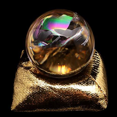 アイリスクォーツ 丸玉 水晶 虹入り AAA 天然 直径約50mm 座布団付き レインボー パワーストーン 天然石